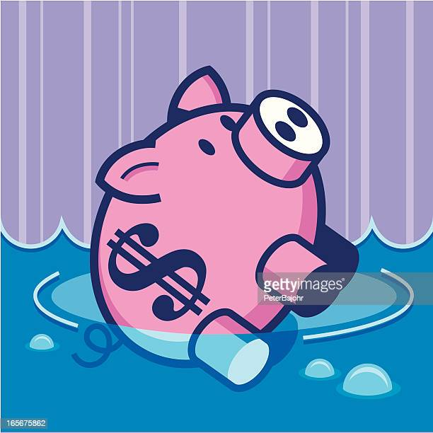 sinking piggy bank - money down the drain stock illustrations, clip art, cartoons, & icons