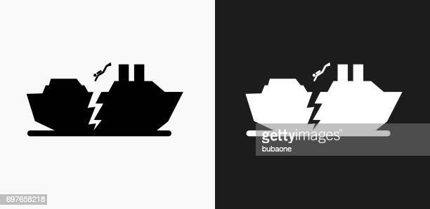 Sinking Ship Icon on Black and White Vector Backgrounds