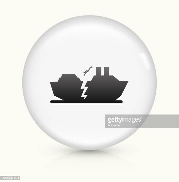 Naufrágio de barco símbolo num botão de vetor arredondado branco