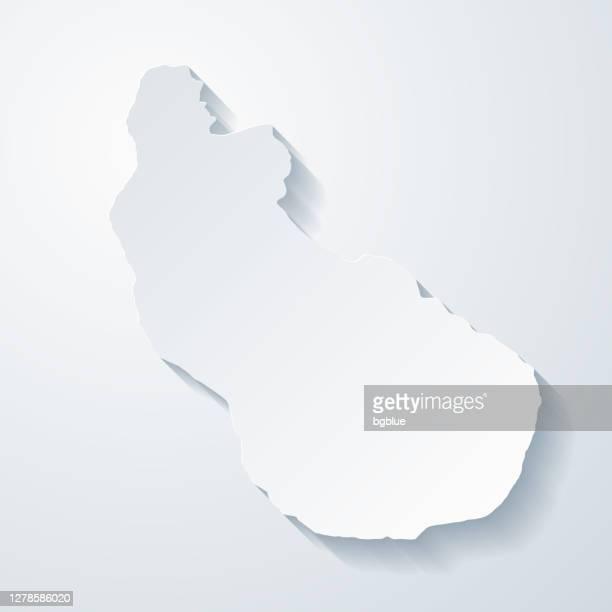 空白の背景に紙のカット効果を持つシントユースタティウスマップ - カリブ海オランダ領点のイラスト素材/クリップアート素材/マンガ素材/アイコン素材