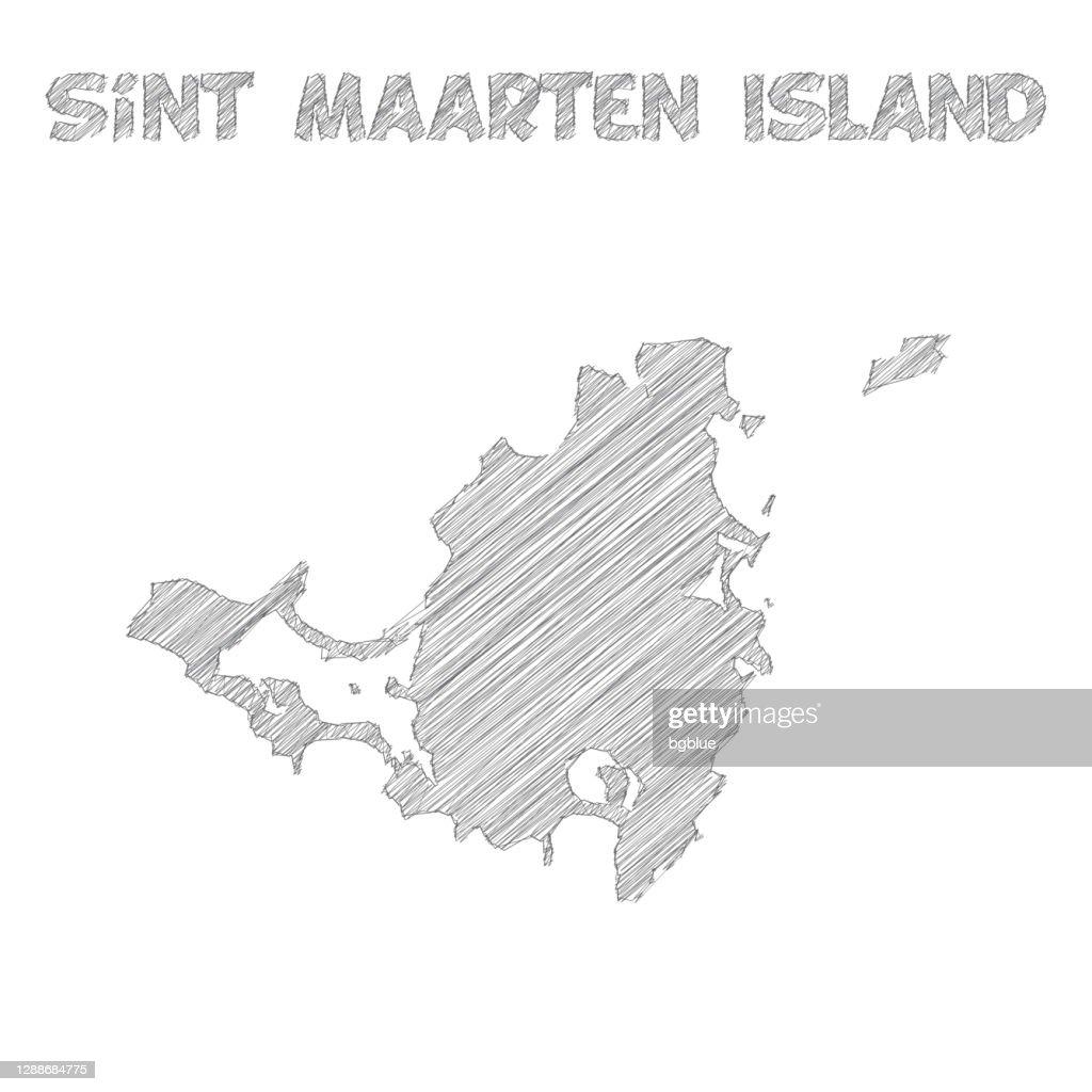 白い背景に描かれたシント・マールテン島地図の手 : ストックイラストレーション