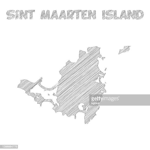 白い背景に描かれたシント・マールテン島地図の手 - カリブ海オランダ領点のイラスト素材/クリップアート素材/マンガ素材/アイコン素材