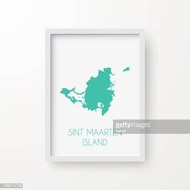 stockillustraties, clipart, cartoons en iconen met de kaart van het eiland van sint maarten in een kader op witte achtergrond - philipsburg sint maarten