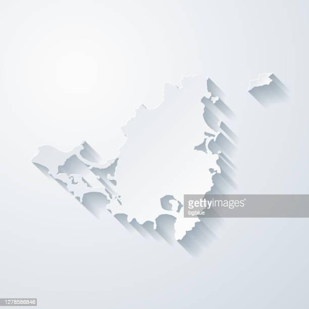 白紙の背景に紙カット効果を持つシントマールテン島マップ - カリブ海オランダ領点のイラスト素材/クリップアート素材/マンガ素材/アイコン素材