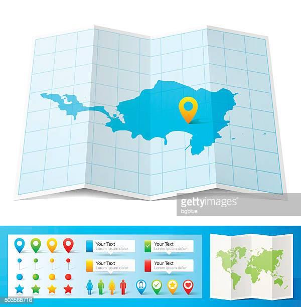 stockillustraties, clipart, cartoons en iconen met sint maarten map with location pins isolated on white background - philipsburg sint maarten