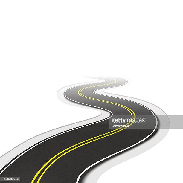 Sinuous road on white background