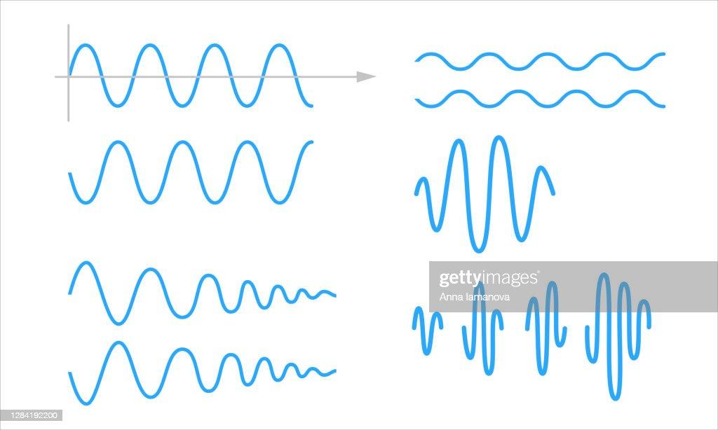 Sinusoid. A set of sinusoidal waves : stock illustration