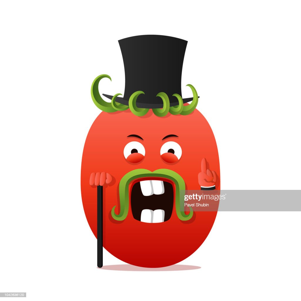Sir tomato character. Vegetable for print, menu, recipe.