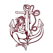 Siren mermaid pin-up girl on anchor old-school tattoo vector design
