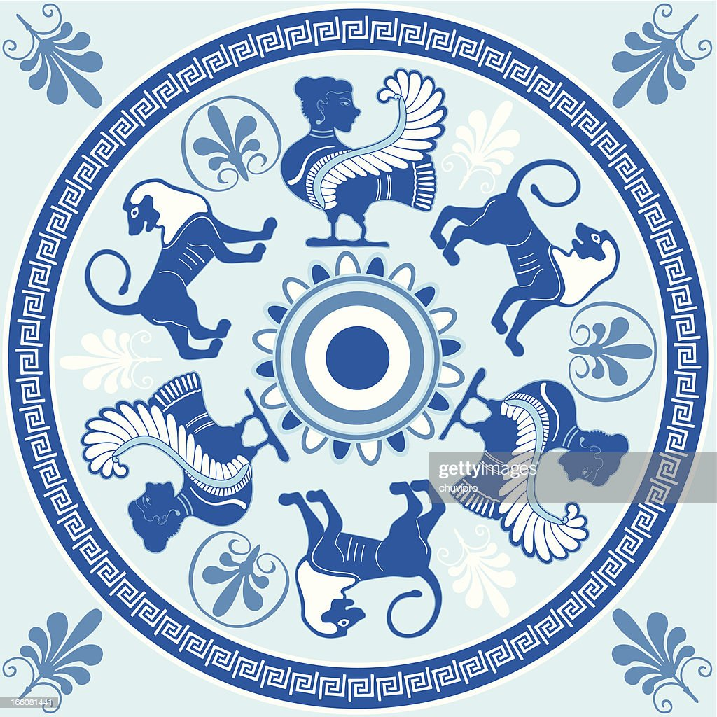 Sirens and lions Greek ornament in blue and white colors : stock illustration