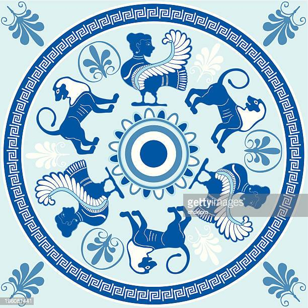 sirens and lions greek ornament in blue and white colors - greece stock illustrations