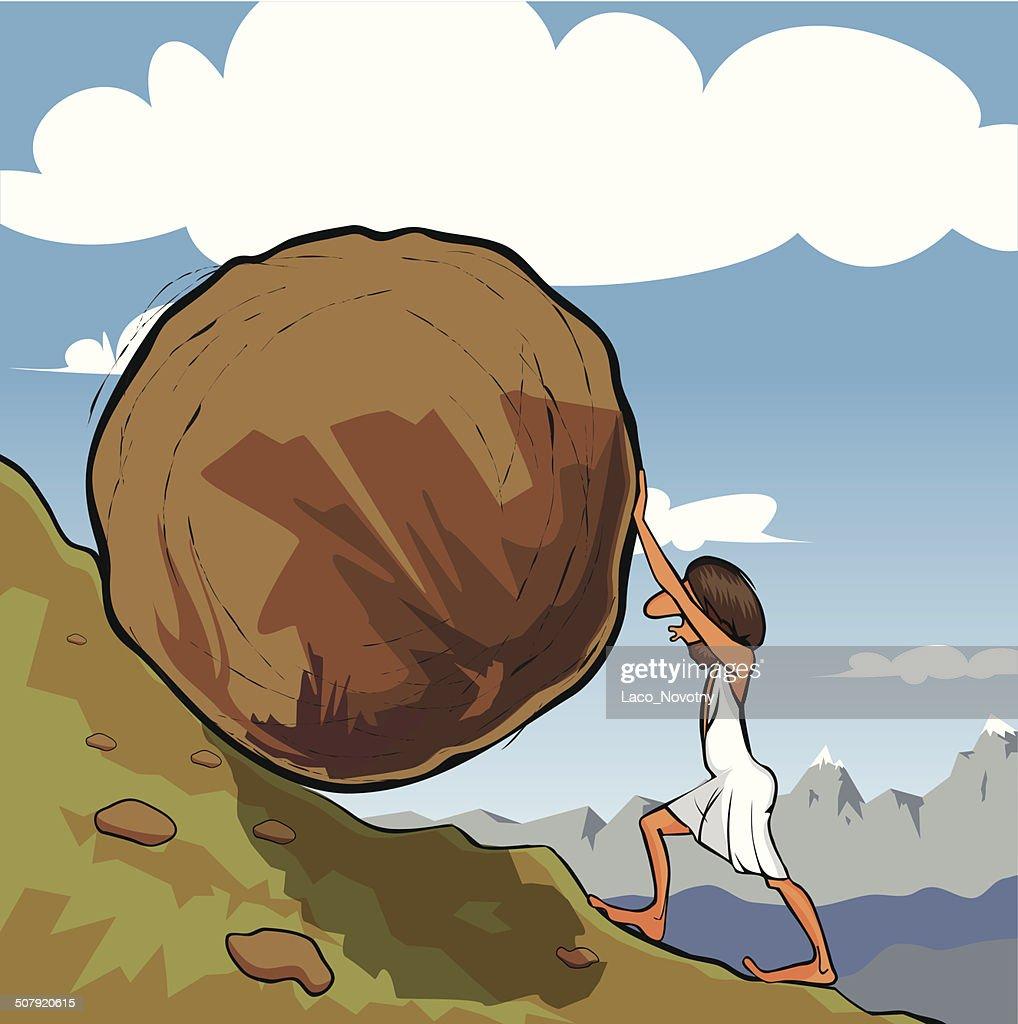 Sisyphus rolling a boulder