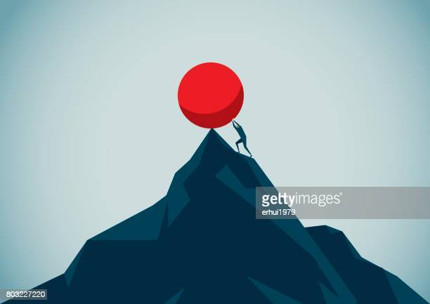 sisyphus - endurance stock illustrations