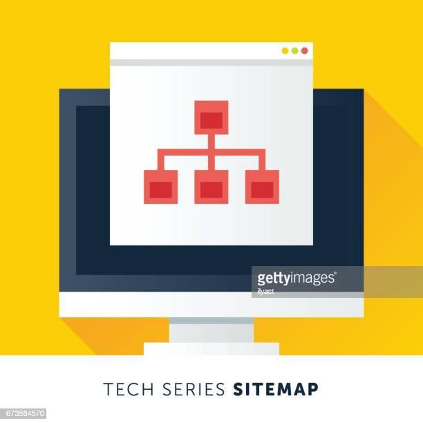 stockillustraties, clipart, cartoons en iconen met sitemap - hiërarchie