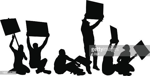 sit-in vector silhouette - protestor stock illustrations, clip art, cartoons, & icons