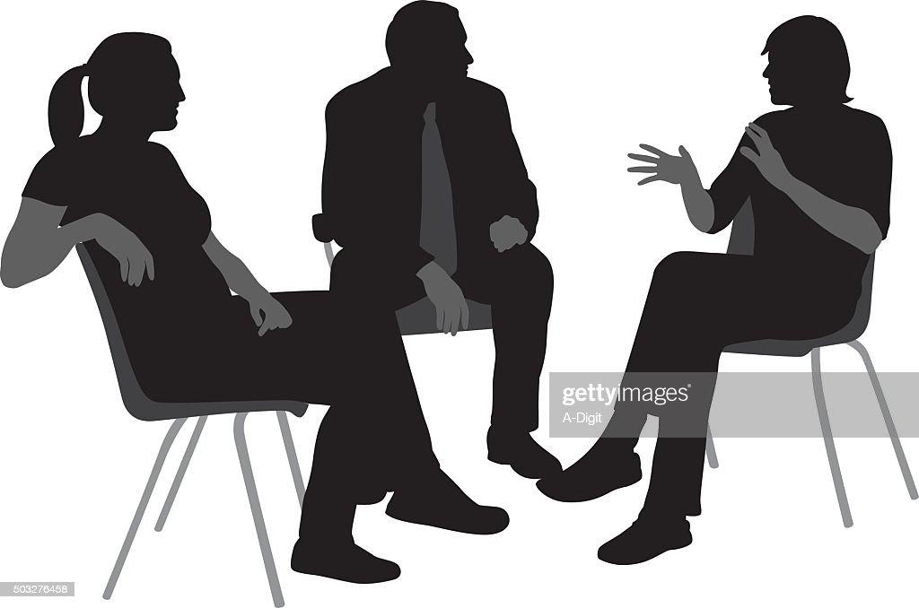 Sitzen und reden Silhouetten : Stock-Illustration