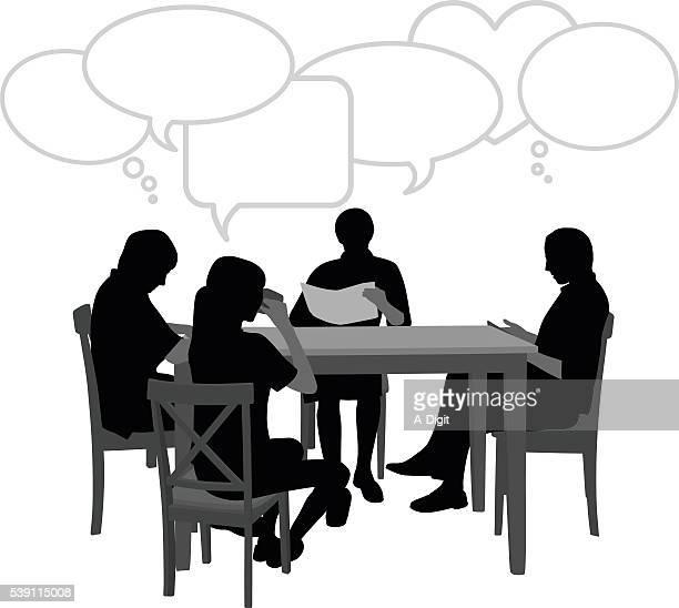 ilustraciones, imágenes clip art, dibujos animados e iconos de stock de sentado en la mesa con discurso de burbujas - mesa de comedor