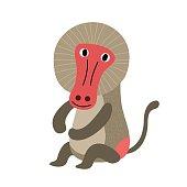 Sitting Baboon cartoon character vector illustration.