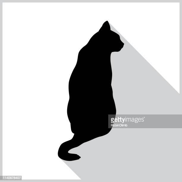 illustrations, cliparts, dessins animés et icônes de icône de chat noir assis - chat noir