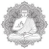 Sitting Bubbha in Lotus position