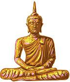 Sitting Buddha god in lotus position sketch vector illustration on white background. Thai god, yoga zen. Indian Buddhism. Spiritual esoteric motif. tattoo, yoga, spirituality design. Hand drawn Buddha