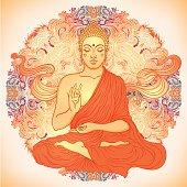 Sitting Buddha over ornate mandala round pattern