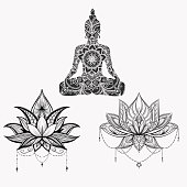 Sitting Buddha with detailed lotus flower.