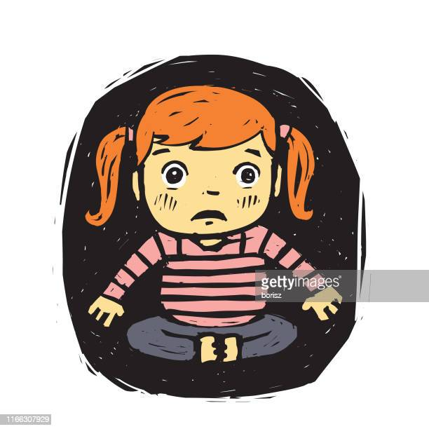 Frowning Expression - Cute Cartoon Girl Illustration Stock Illustration -  Illustration of kids, cartoon: 102496206