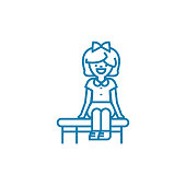 Sitting games linear icon concept. Sitting games line vector sign, symbol, illustration.