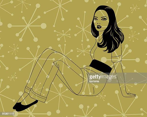 座る女性の - clip art点のイラスト素材/クリップアート素材/マンガ素材/アイコン素材