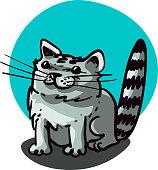 sitting gray cat cartoon