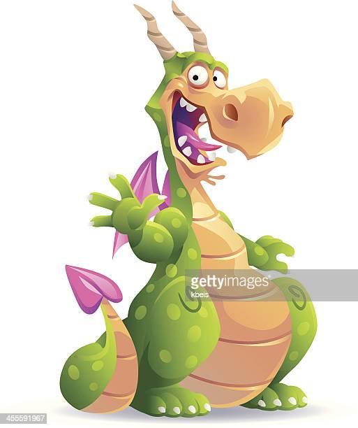 sitzung green dragon - fantasiewelt stock-grafiken, -clipart, -cartoons und -symbole