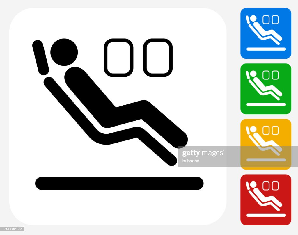 Sitting in Airplane Icon Flat Graphic Design