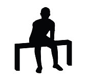 sitting man silhouette illustration