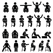 Sitting on Chair Poses Postures Human Stick Figure Pictogram