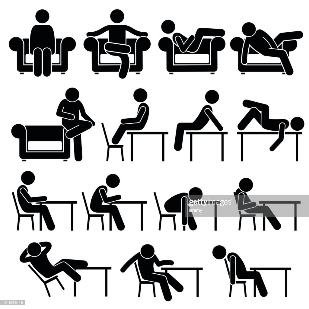 Sitting on Sofa Couch Working Chair Lounge Table Poses Postures Human Pictogram