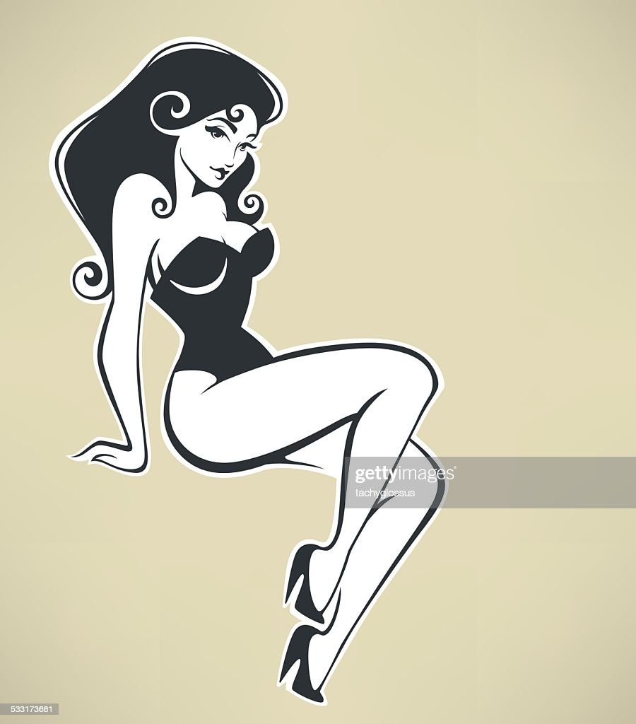 sitting pinup girl on beige background