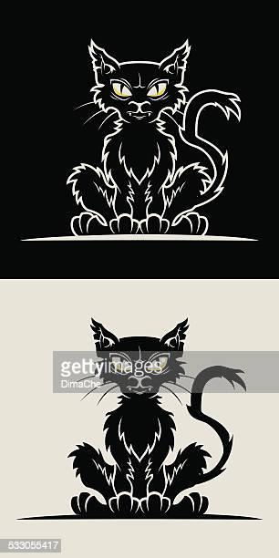 sitting scrappy cat - cartoon hobo stock illustrations