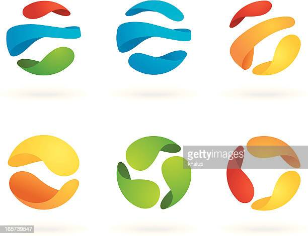 Six abstract spherical designs on white background