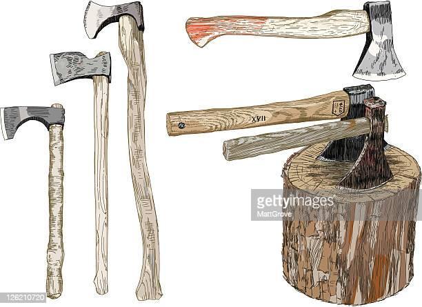 six axes - hatchet stock illustrations, clip art, cartoons, & icons