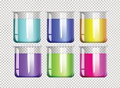 Six beakers filled with colorful liquid