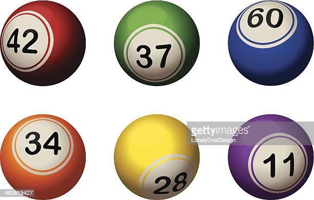 six bingo balls - bingo balls stock illustrations