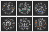 Six black business square banners - Idea, Strategy