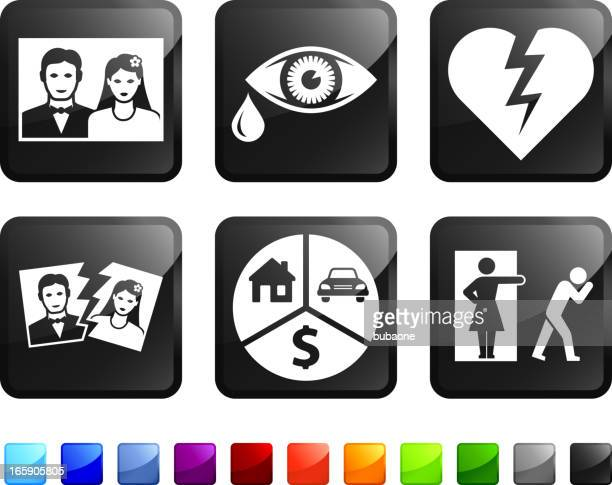 Six, black square stickers with divorce themed pictures.