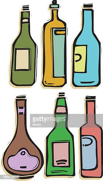 six bottles - brandy stock illustrations, clip art, cartoons, & icons