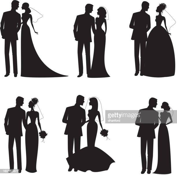 Six Bridal Couples in Silhouette Black and White