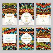 Six bright cards with ethnic ornaments.