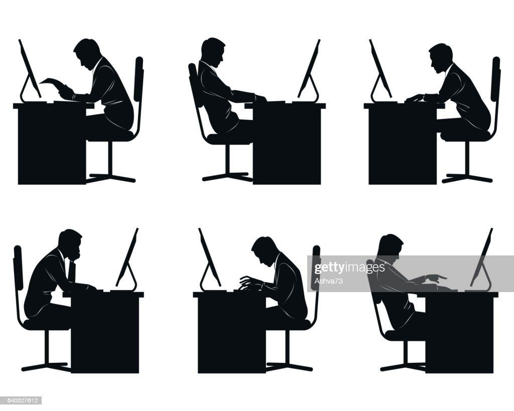 Six businessmen silhouettes