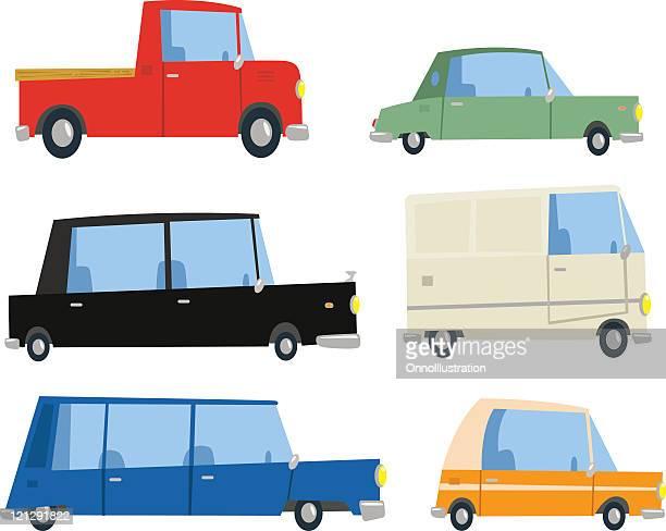 six cartoon cars - hatchback stock illustrations, clip art, cartoons, & icons