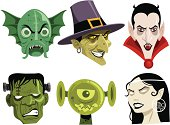 Six cartoon monsters commonly seen during Halloween